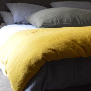 linge de maison en lin lavé housse de couette et taie d'oreiller