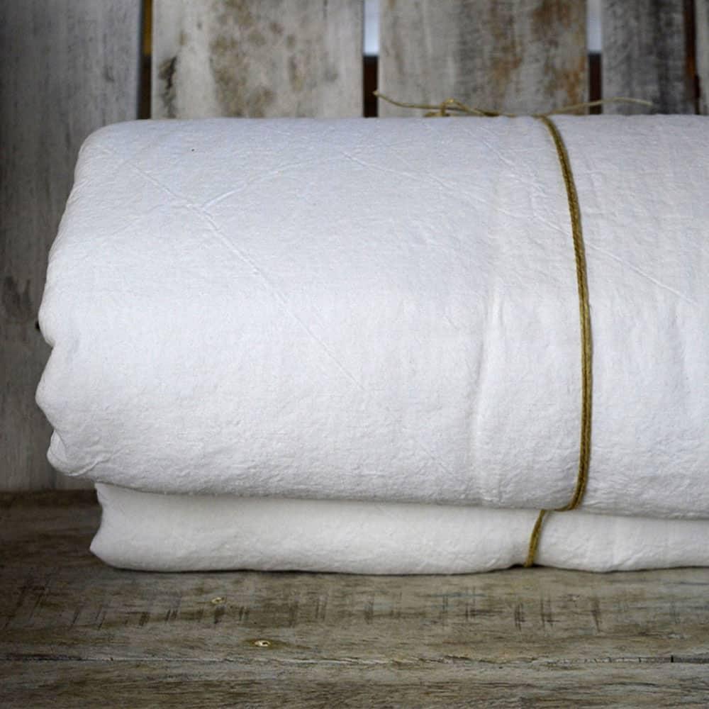 Drap housse lin lavé Blanc craie