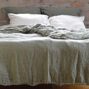 linge de maison en lin lavé taie d'oreiller et housse de couette
