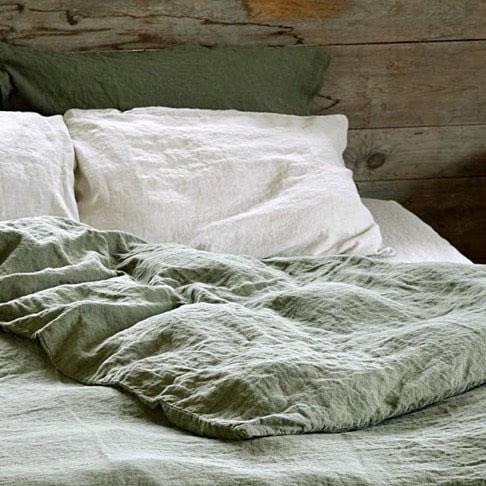 linge de maison en lin lavé draps housse et taie d'oreiller