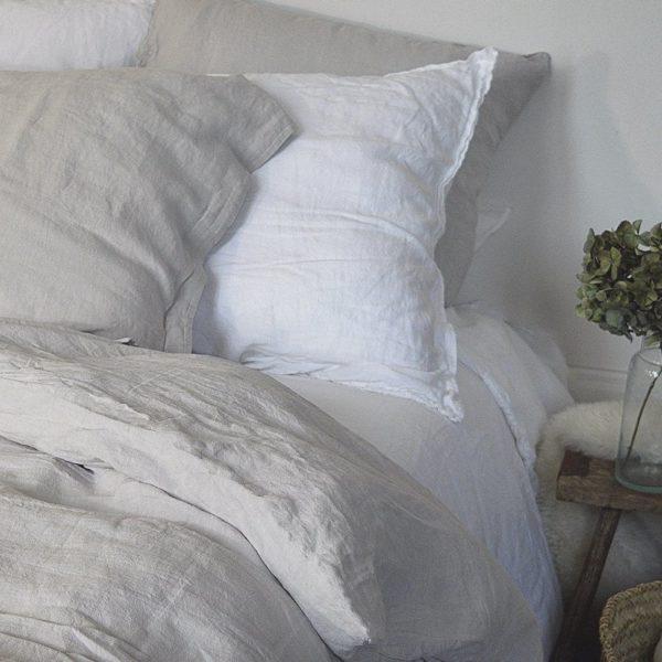 linge de maison en lin lavé fabrique en france blanc