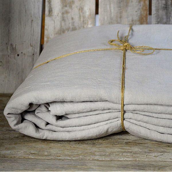 linge de maison en lin lavé fabrique en france blanc craie