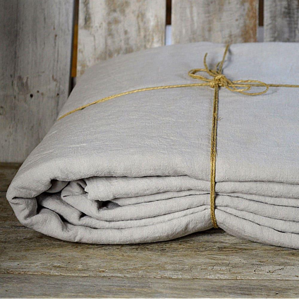 housses de couette lin lav galet la draperie fran aise. Black Bedroom Furniture Sets. Home Design Ideas
