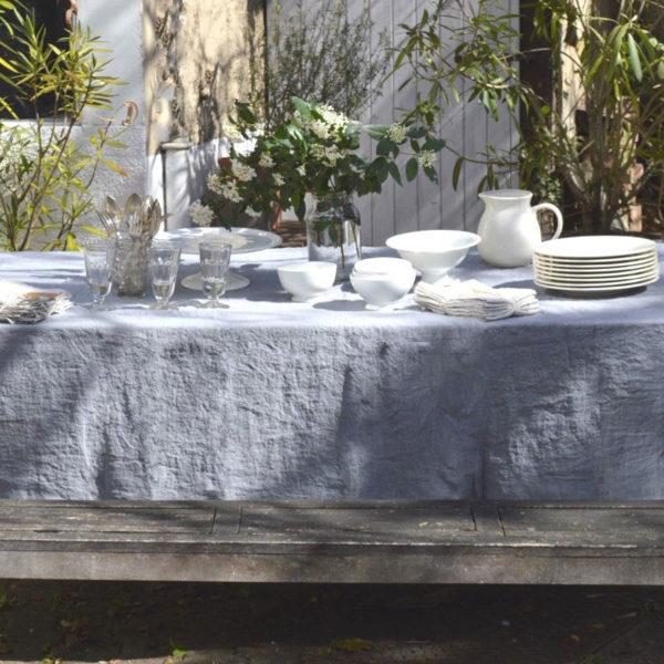 linge de maison en lin lavé nappe et serviettes