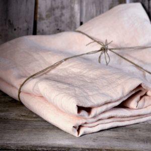 linge de maison en lin lavé ensemble de lit rose